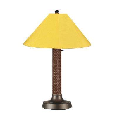 Bahama Weave 34 in. Red Castagno Outdoor Table Lamp with Buttercup Shade