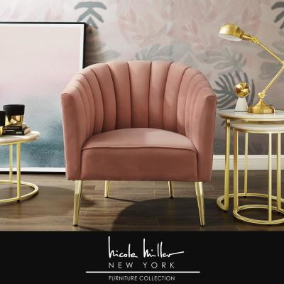 Tibii Blush/Gold Velvet Accent Chair with Upholstered Barrel Chair