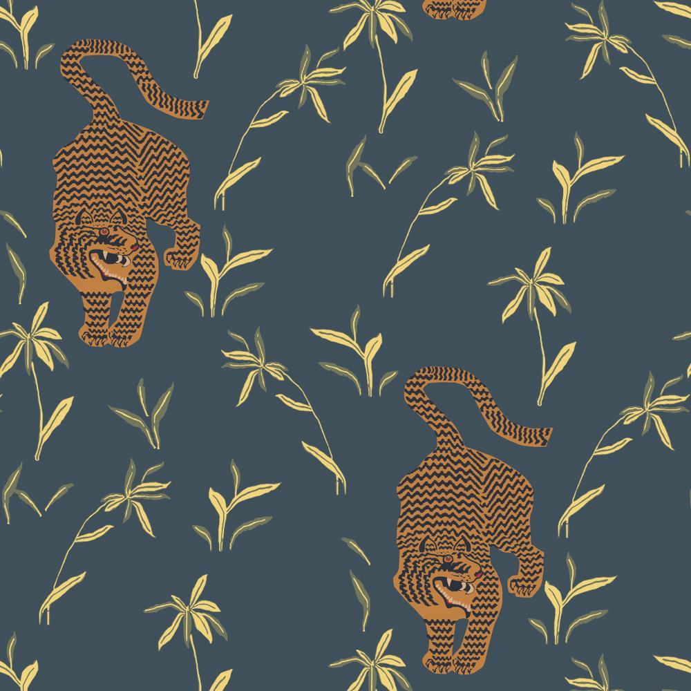 Stalking Tiger Vinyl Peelable Wallpaper (Covers 36 sq. ft.)