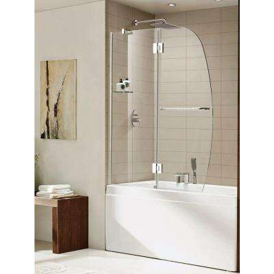 Aurora 48 in. x 58 in. Semi-Framed Pivot Shower Door in Chrome with Shelf and Towel Bar