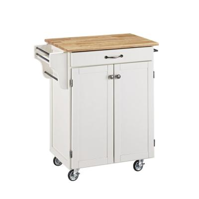 Cuisine Cart White Kitchen Cart with Natural Wood Top