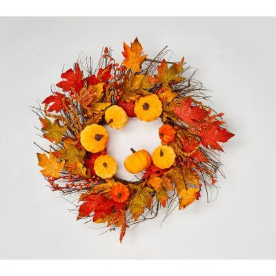 22 in. Velvet Pumpkins and Maple Leaves on Wild Twig Base
