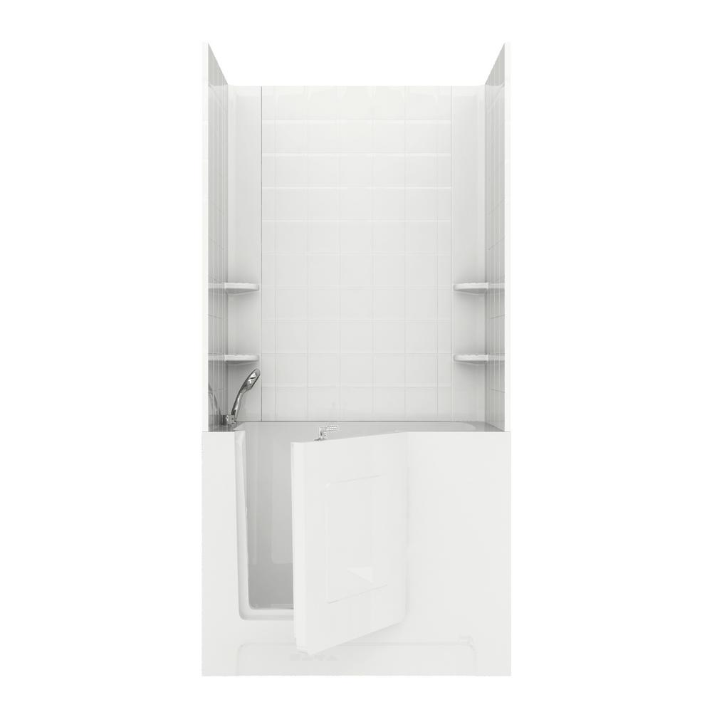 Universal Tubs Rampart 4 ft  Walk-in Whirlpool Bathtub with 6 in  Tile Easy  Up Adhesive Wall Surround in White