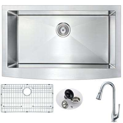ELYSIAN Farmhouse Stainless Steel 32 in. 0-Hole Kitchen Sink and Faucet Set with Singer Faucet in Brushed Satin