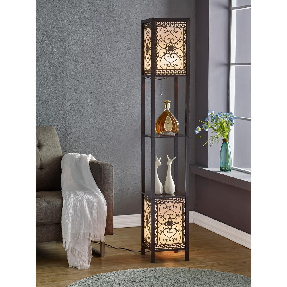 ARTIVA Infinity Heart Shelf Floor Lamp 64 in Expresso A808102DEX