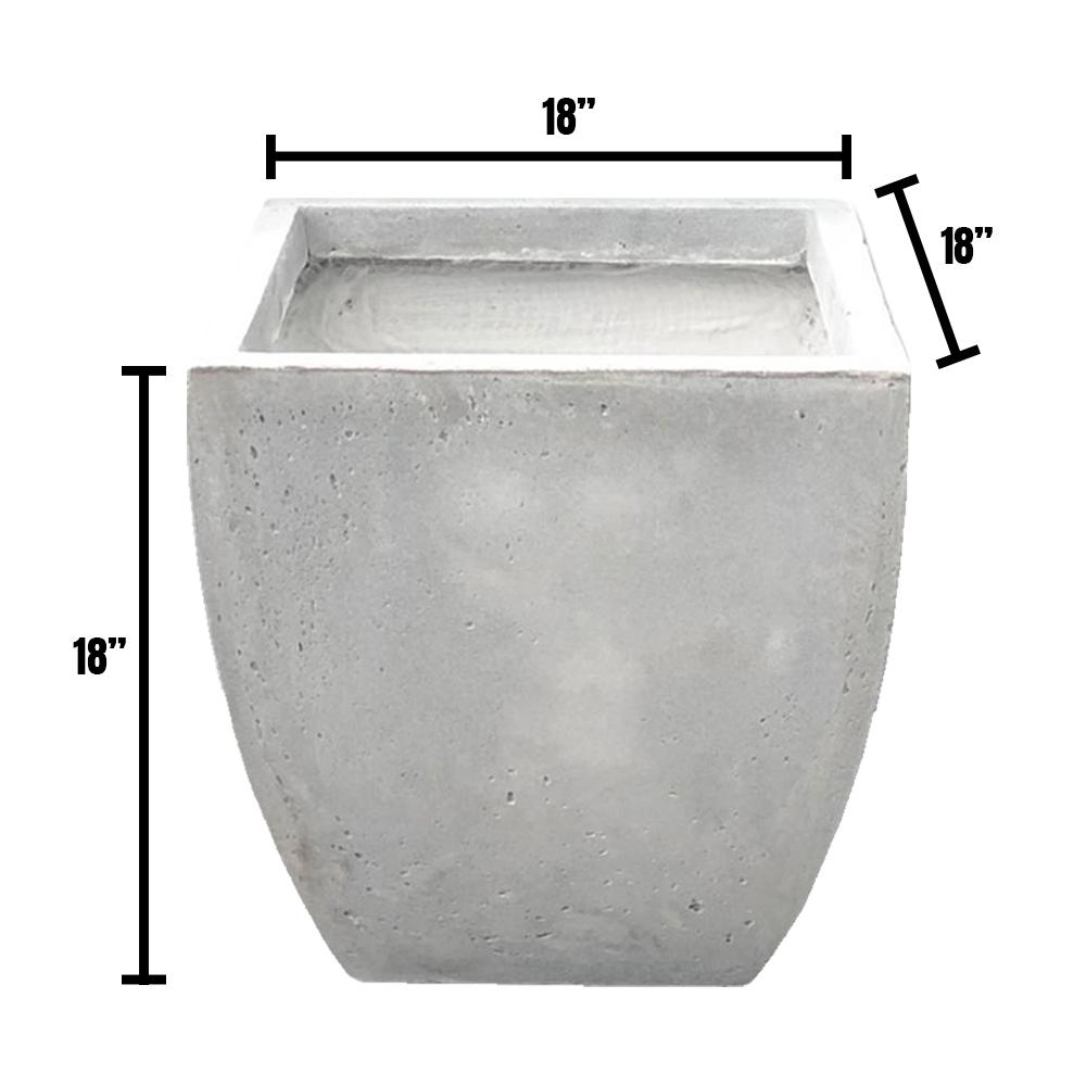 DurX-litecrete Large 17.7 in. x 17.7 in. x 17.7 in. Light Gray Lightweight Concrete Flared Square Planter
