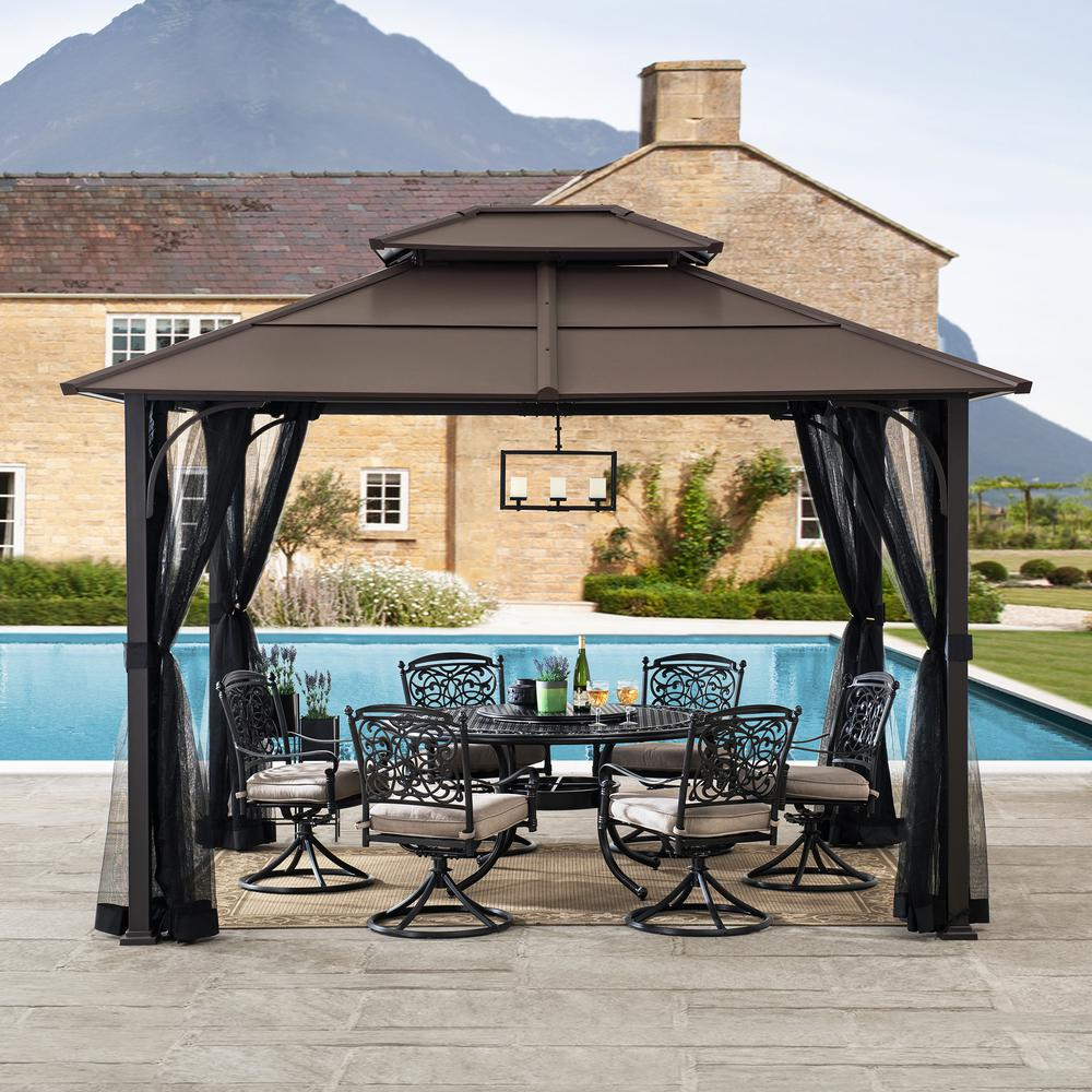 Sunjoy Atasha 10 Ft X 12 Ft Brown Steel Gazebo With 2 Tier Hip Roof Hardtop With Mosquito Netting 169179 The Home Depot