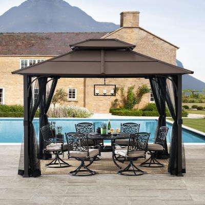 Atasha 10 ft. x 12 ft. Brown Steel Gazebo with 2-Tier Hip Roof Hardtop with Mosquito Netting