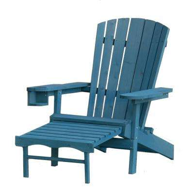 Classic Blue Wood Muskoka Adirondack Chair with Ottoman and Cupholder
