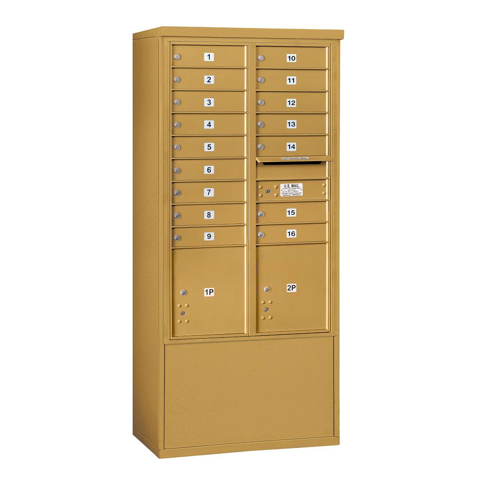 Salsbury Industries 3900 Horizontal Series 16-Compartment 4-Parcel Locker Free Standing Mailbox