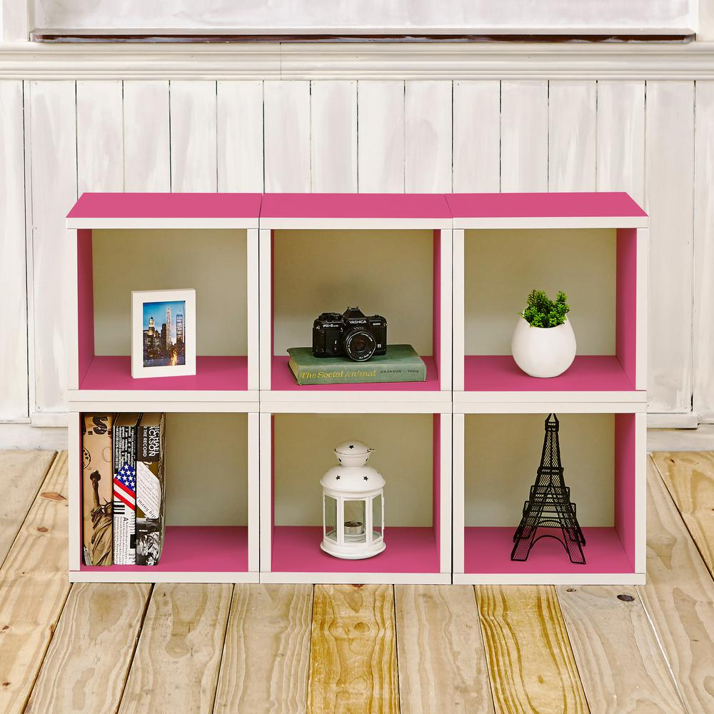 6 cubes zboard stackable modular storage cubby organizer tool free assembly storage in pink