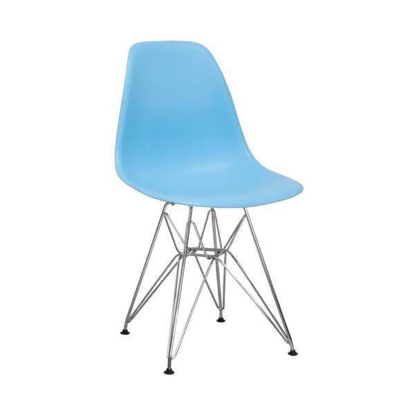 Mod Made Paris Tower Blue Dining Side Chair with Chrome Legs