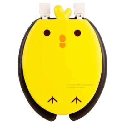 Chick Round Closed Front Toilet Seat in Yellow and Brown