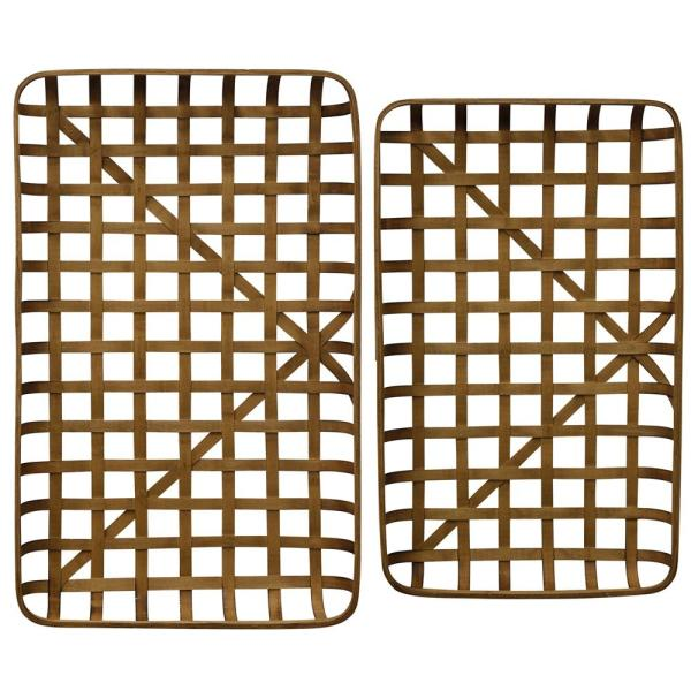 Natural Paracel Bamboo Trays (Set of 2)