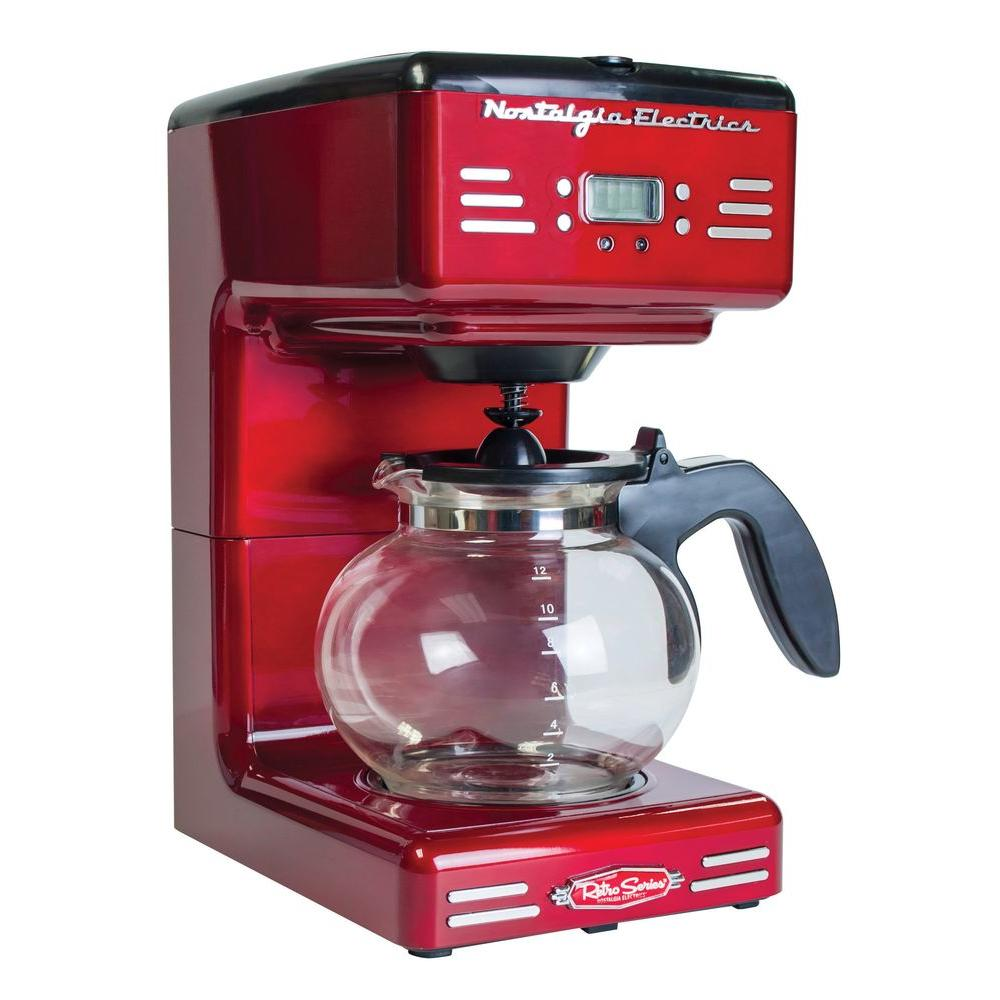 Nostalgia Store 12-Cup Coffee Maker, Red/Orange