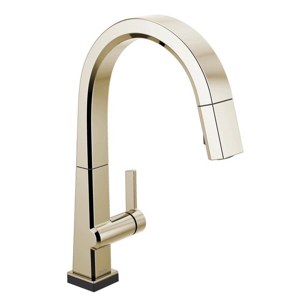 Pivotal Single-Handle Pull-Down Sprayer Kitchen Faucet with Touch2O Technology and MagnaTite Docking in Polished Nickel