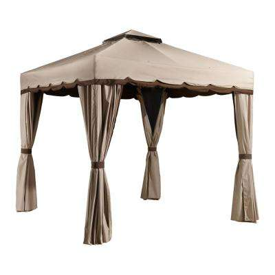10 ft. D x 10 ft. W Roma Aluminum Gazebo with Polyester Roof, 2-Pole System, and Nylon Mosquito Netting