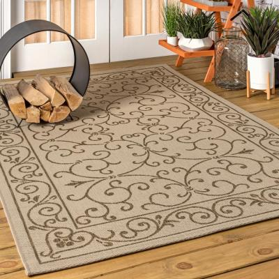 Charleston Vintage Filigree Beige/Brown 7 ft. 9 in. x 10 ft. Textured Weave Indoor/Outdoor Area Rug