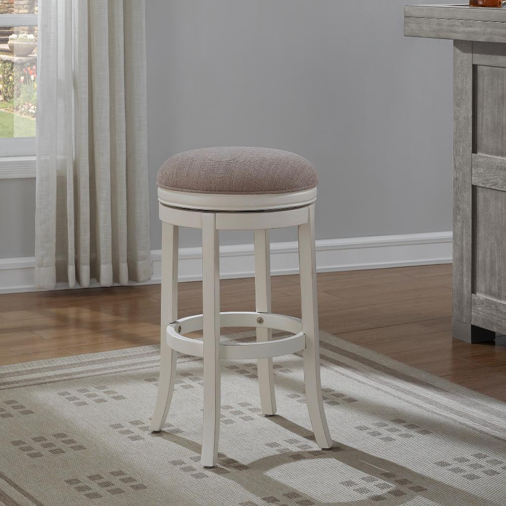 Distressed Antique White Backless Swivel Counter Stool