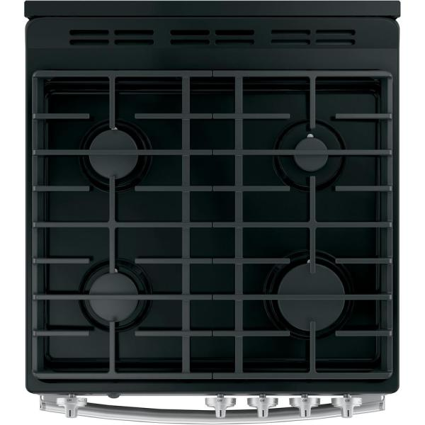 Oven Capacity Electronic Ignition Easy Clean Enamel Interior Heavy Chrome Racks in Stainless Steel BGR24102SS 24 Gas Range with 4 Sealed Burners 2.51 cu ft
