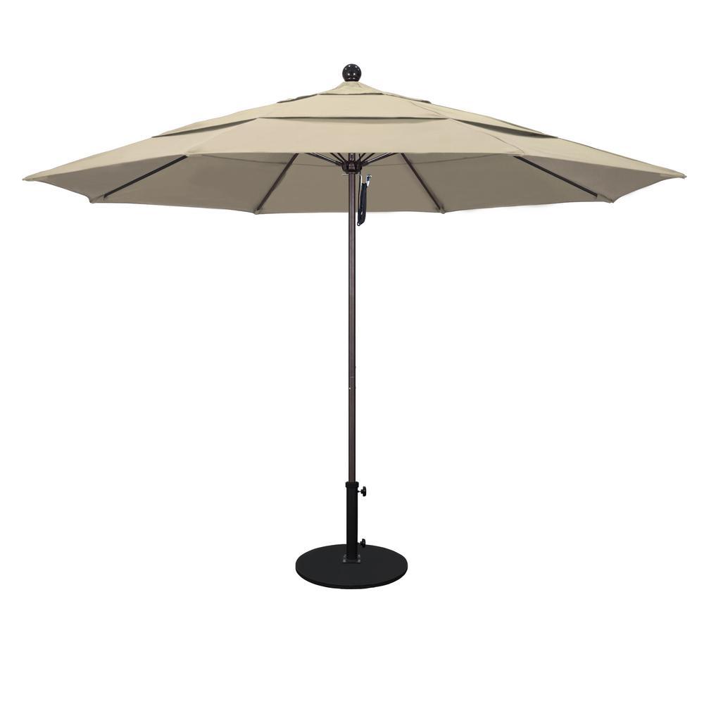 11 ft. White Aluminum Market Patio Umbrella with Fiberglass Ribs Pulley Lift in Antique Beige Sunbrella