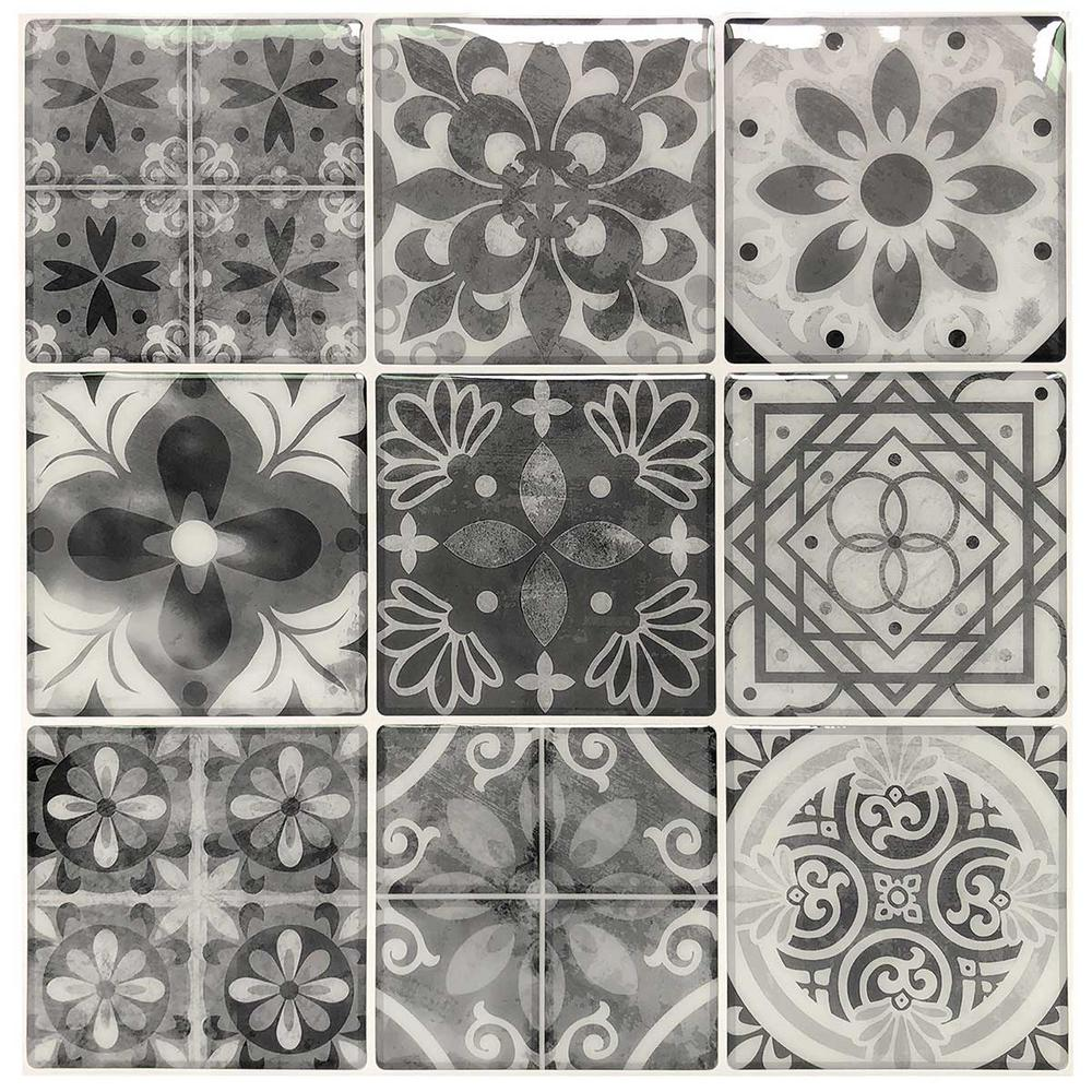 - 11.8 In. X 11.8 In. Vinyl Peel And Stick Decorative Wall Tile
