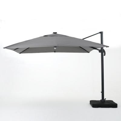 9.71 ft. Aluminum Cantilever Solar Tilt Patio Umbrella in Gray