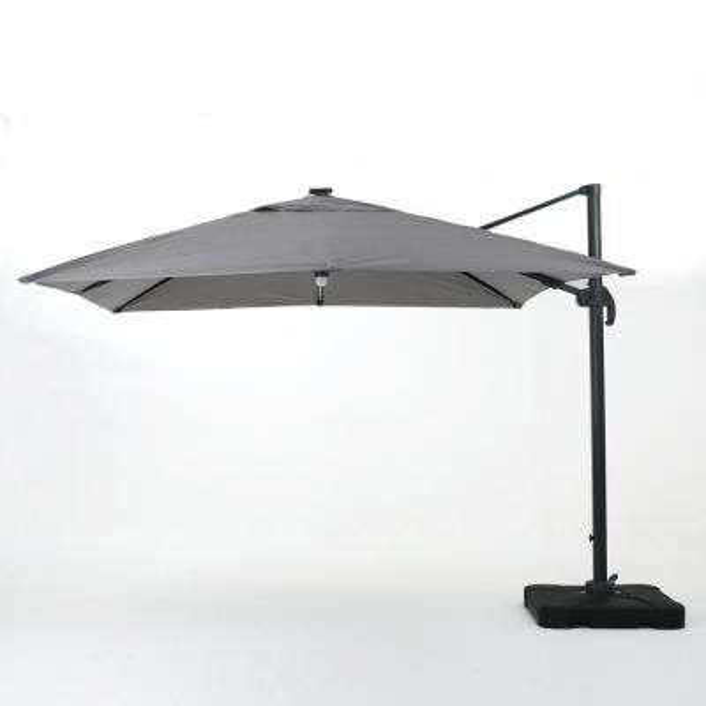 9.71 ft. Aluminum Cantilever Solar Tilt Patio Umbrella in Gray