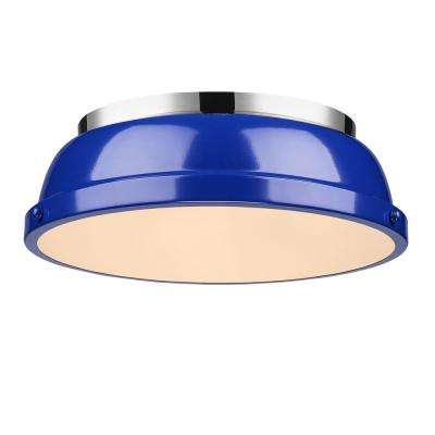 Duncan 2-Light Chrome Flush Mount with Blue Shade