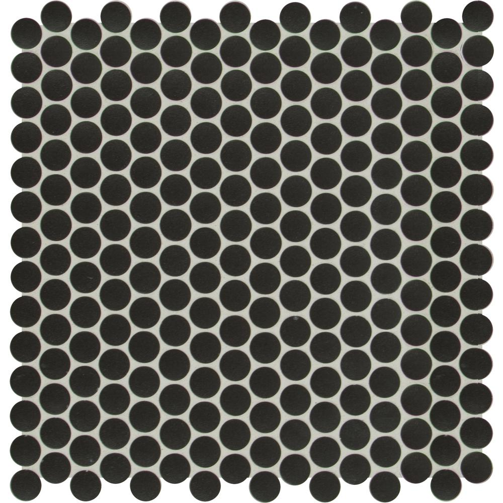 57c40075e6 MSI Penny Round Nero 11.3 in. x 12.2 in. x 6mm Porcelain Mesh ...
