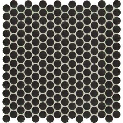 Penny Round Nero 11.3 in. x 12.2 in. x 6mm Glossy Porcelain Mesh-Mounted Mosaic Tile (14.4 sq. ft. / case)