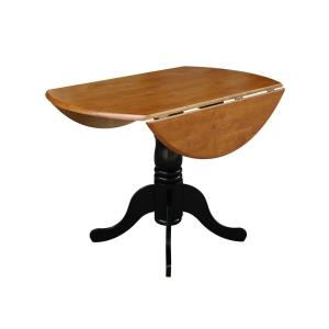 Black And Cherry Solid Wood Dropleaf Dining Table