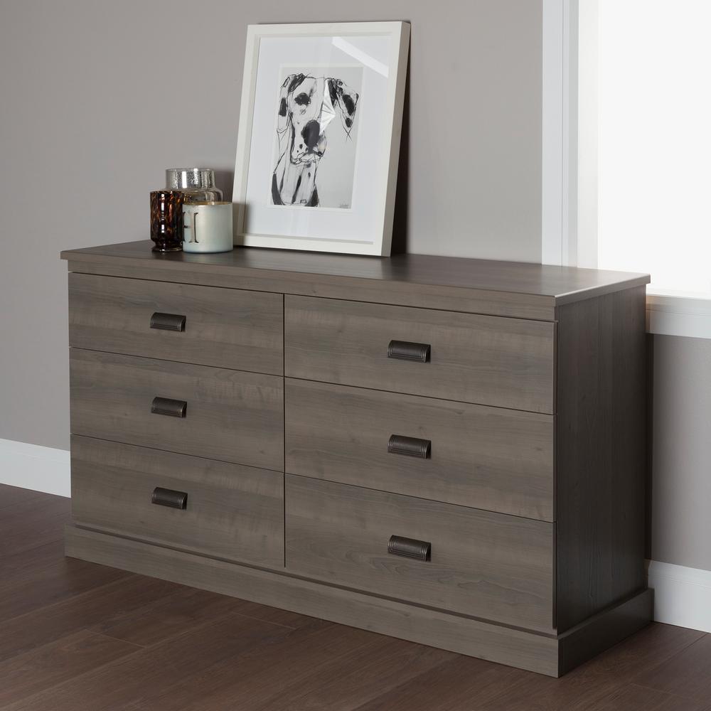 Gloria 6-Drawer Gray Maple Dresser