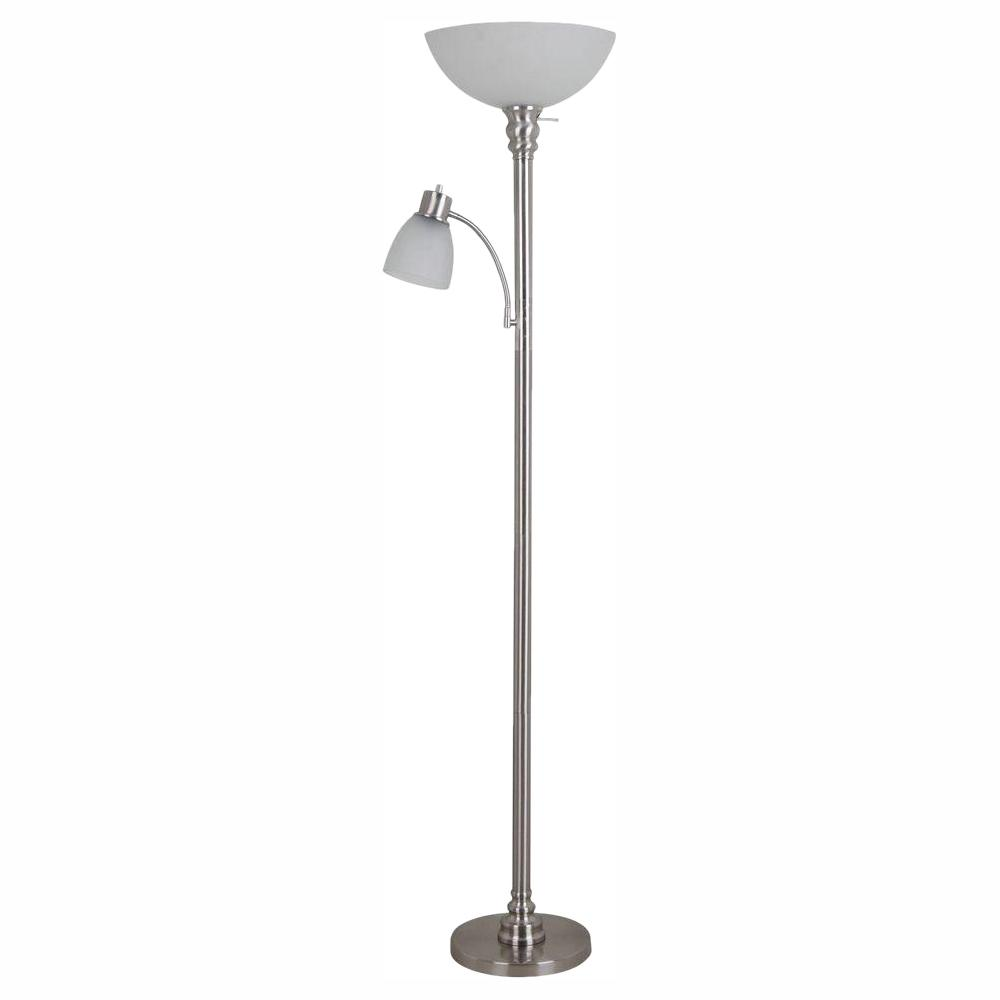 Hampton Bay 70 In Mother Daughter Floor Brushed Nickel Lamp With 9 5 Watt Led Bulb Included