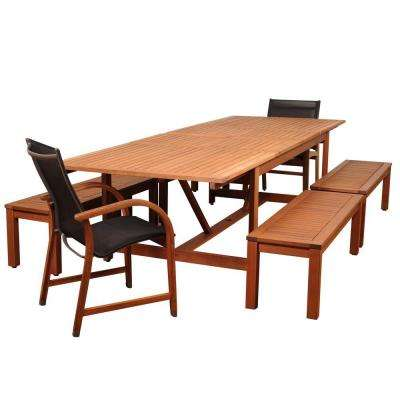 Amber 7-Piece Eucalyptus Rectangular Patio Dining Set