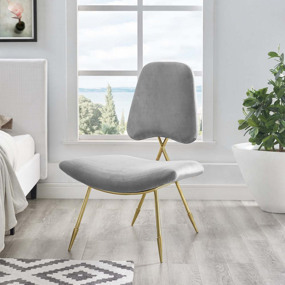 Ponder Upholstered Velvet Lounge Chair in Gray