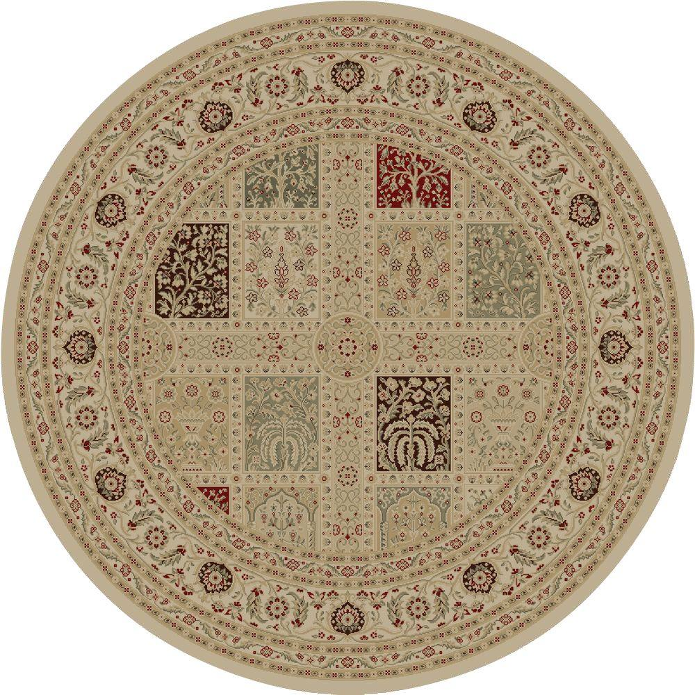 Concord Global Trading Imperial Magnificent Panel Ivory 7 ft. 10 in. Round Area Rug