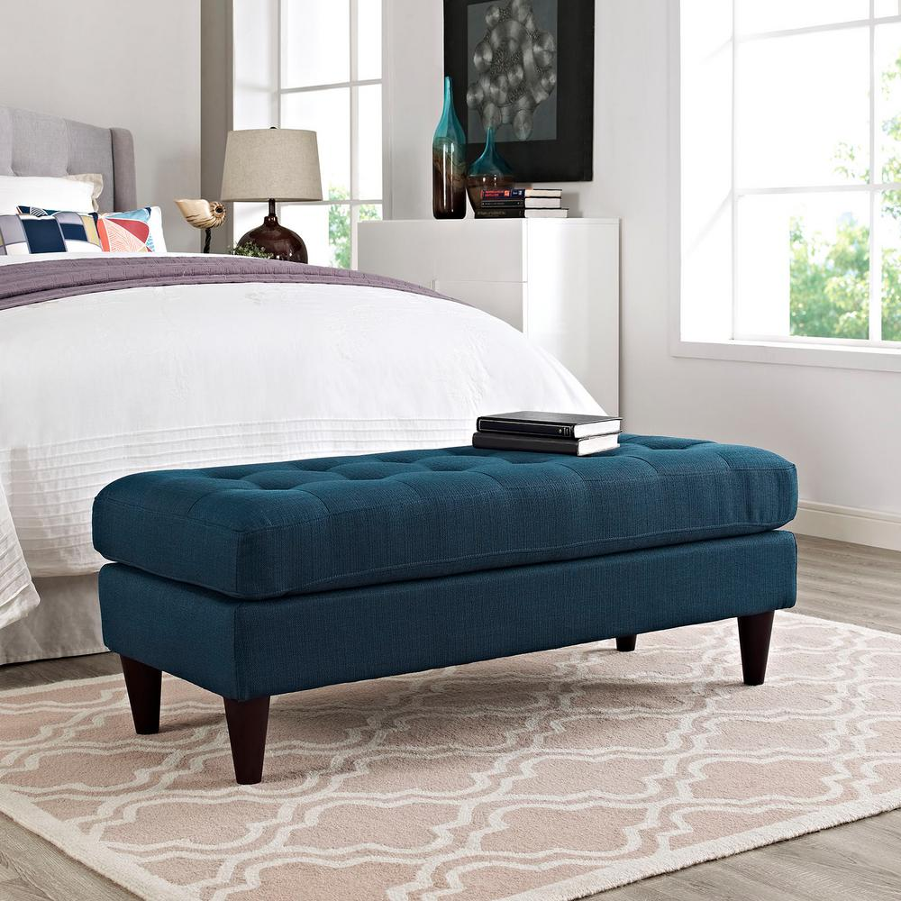 Empress Upholstered Fabric Bench in Azure