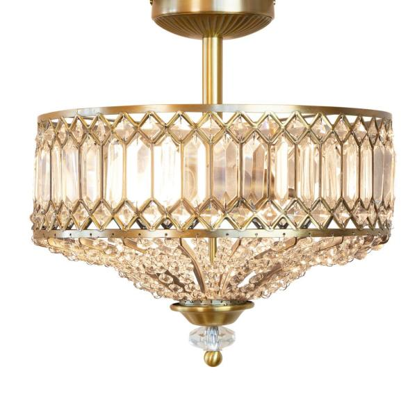 14.75 in. 2-Light Gold Semi-Flush Mount-Light with Tiered Jeweled Glass