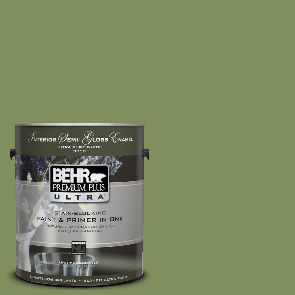 BEHR Premium Plus Ultra 1-gal. #UL210-17 Green Energy Interior Semi-Gloss Enamel Paint