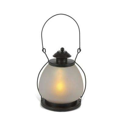 7.1 in. Black Metal with Glass FireGlow Lantern