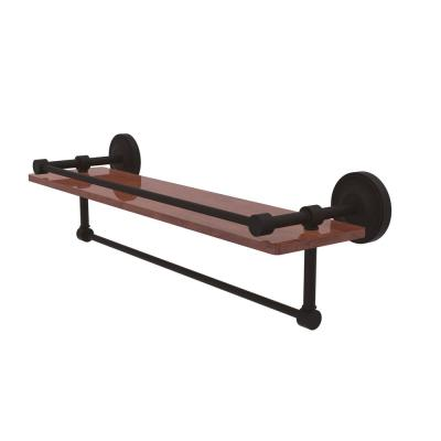 Prestige Regal Collection 22 in. IPE Ironwood Shelf with Gallery Rail and Towel Bar in Oil Rubbed Bronze