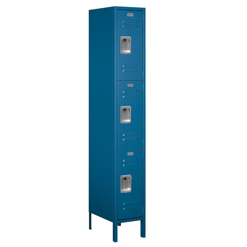 63000 Series 12 in. W x 78 in. H x 18 in. D - Triple Tier Metal Locker Unassembled in Blue
