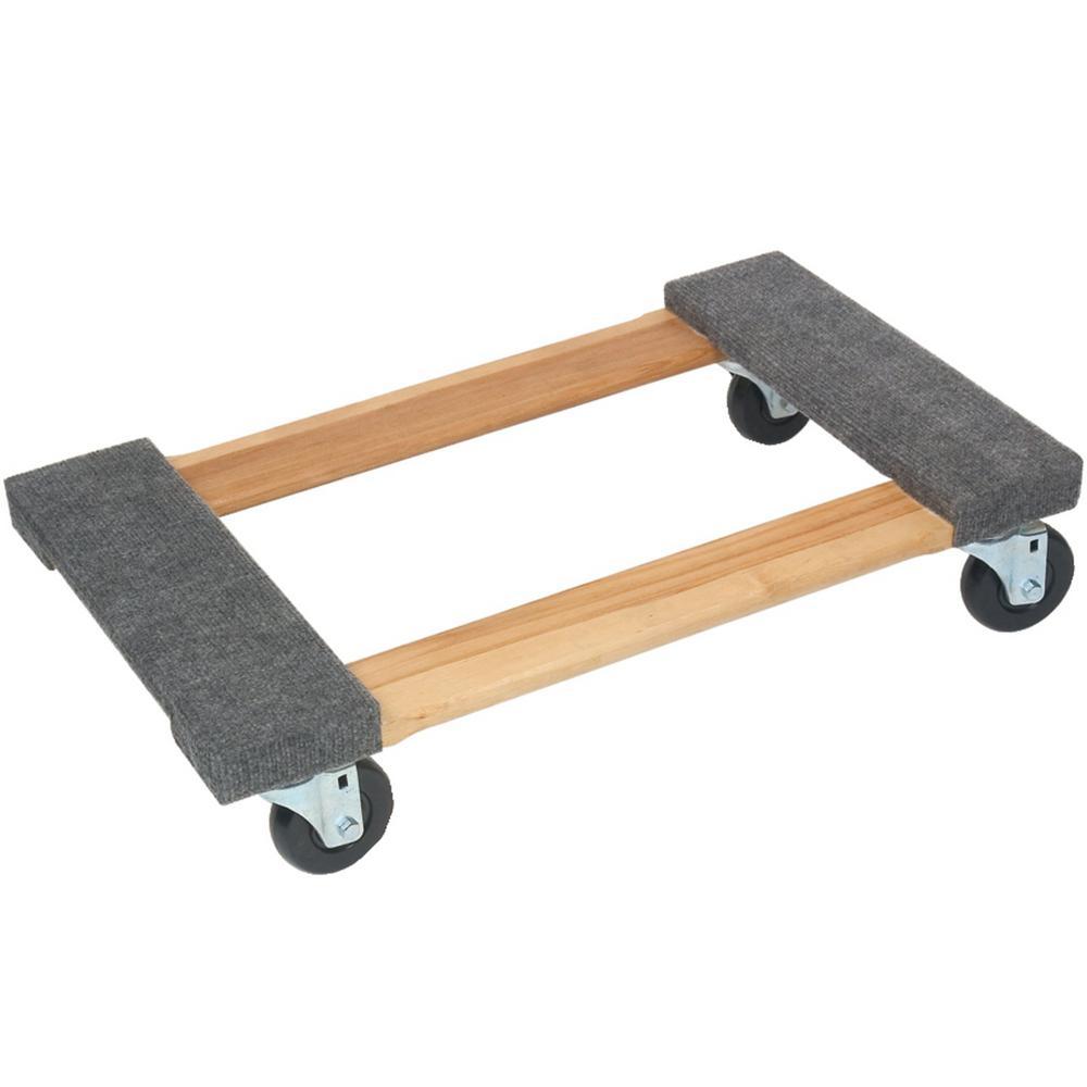 800 lb. Capacity Wood 4-Wheel Piano Carpeted Dolly
