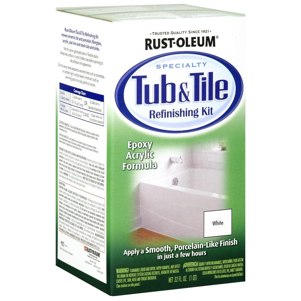 Rust oleum specialty 1 qt white tub and tile refinishing kit white tub and tile refinishing kit dailygadgetfo Choice Image