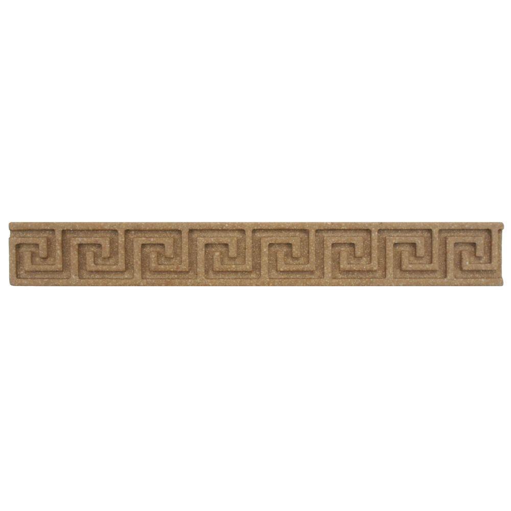 Merola Tile Contempo Greek Key Noce Travertine Liner 1 in. x 8 in. Wall Trim Tile