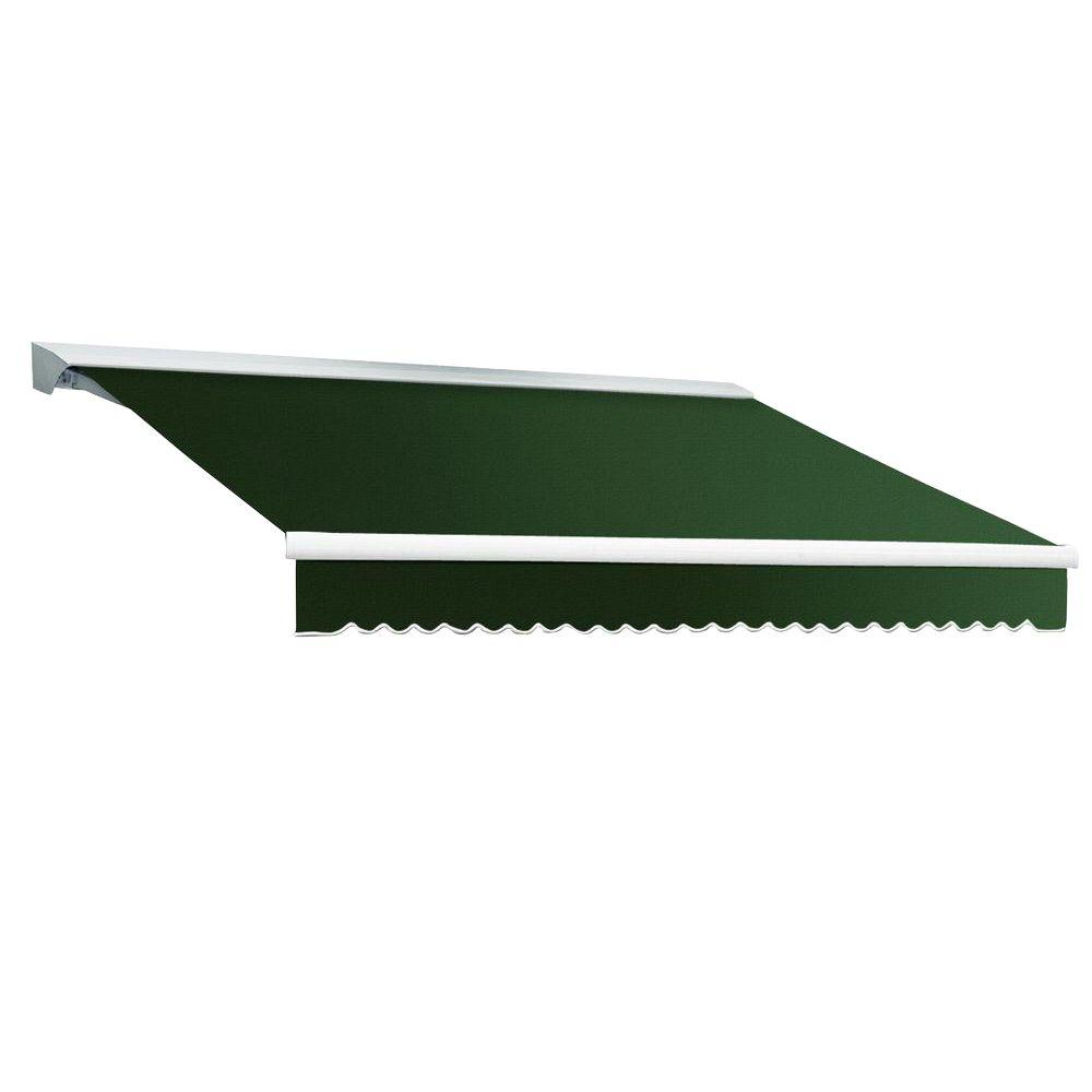 Beauty-Mark 12 ft. DESTIN EX Model Left Motor Retractable with Hood Awning (120 in. Projection) in Forest Green