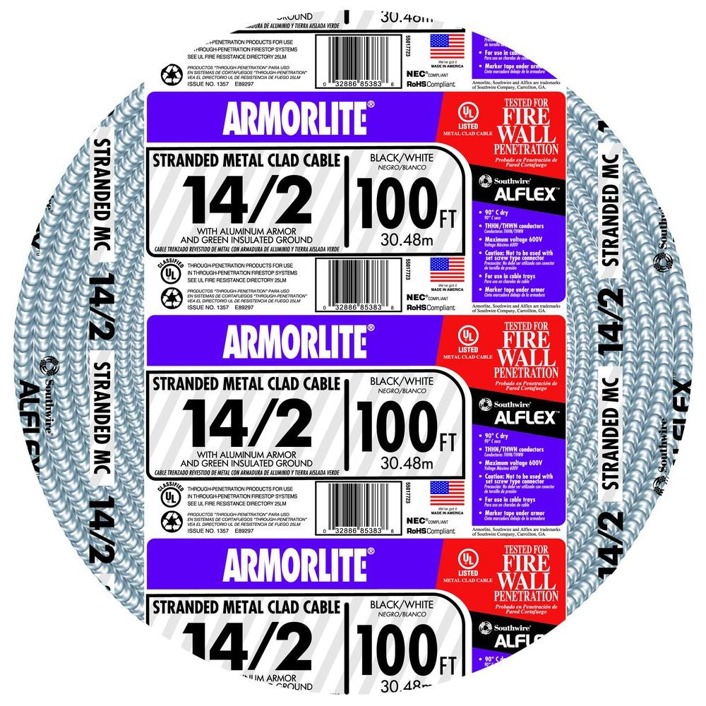 Southwire 14/2 x 100 ft. Stranded CU MC (Metal Clad) Armorlite Cable