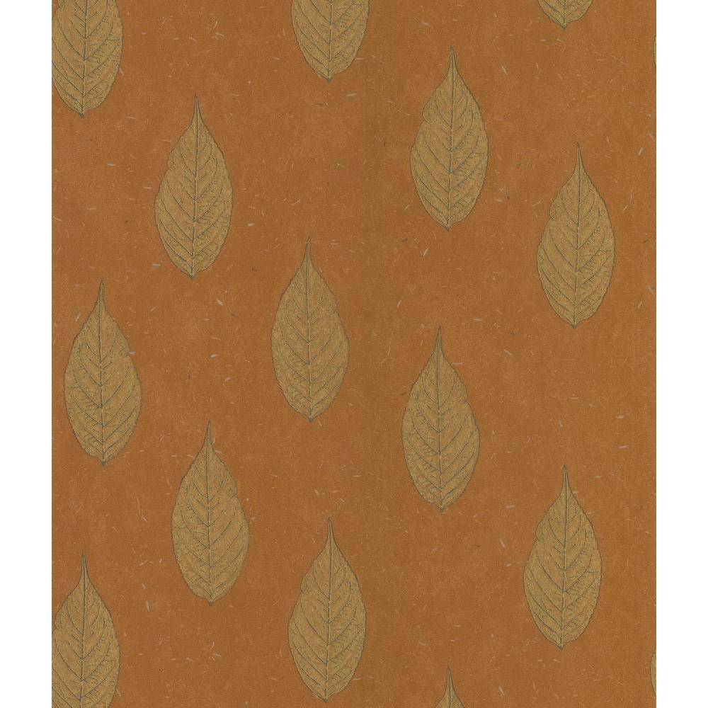 Madhya Orange Leaf Toss Wallpaper Sample