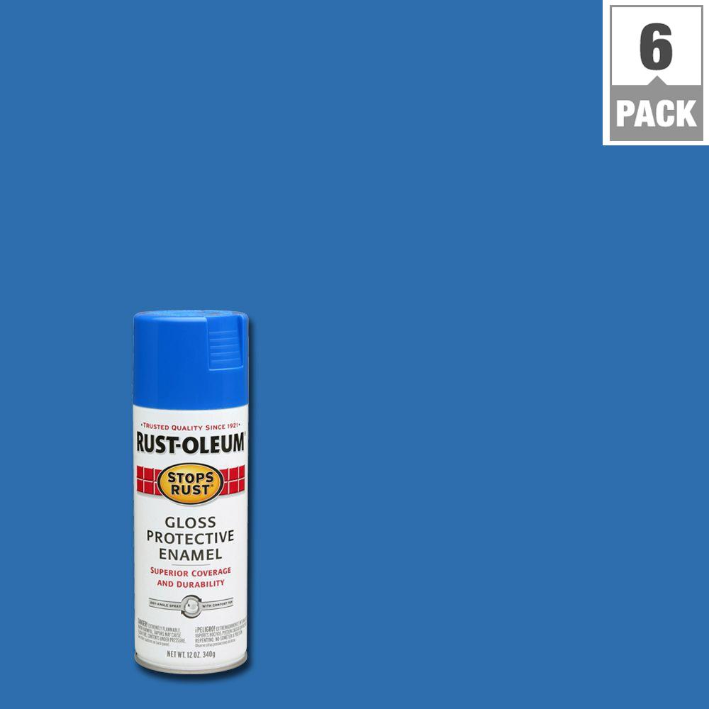 Rust-Oleum Stops Rust 12 oz. Protective Enamel Gloss Sail Blue Spray Paint (6-Pack)